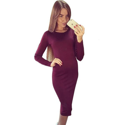 Winter Autumn Dress Plus Size Cotton Long Sleeve Knee Length Dresses Fashion Gray Wine Red Vintage Bandage Maxi Dress