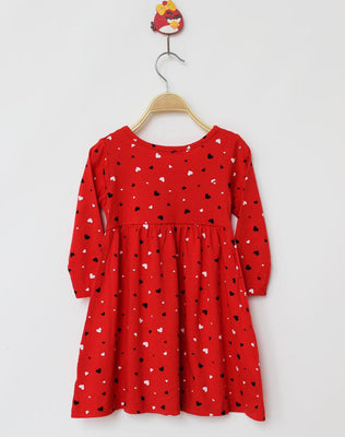 Online discount shop Australia - 100% Cotton Baby Girls Dress Long-Sleeve Red Heart-Shape Dresses For Kids Children Clothes