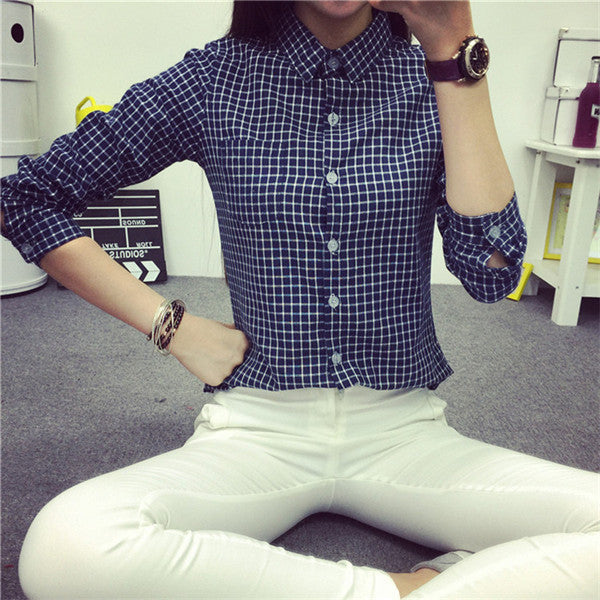 Online discount shop Australia - Ladies Female Casual Cotton Long Sleeve Plaid Shirt Women Slim Outerwear Blouse Tops Size S-XXL