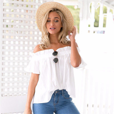 Online discount shop Australia - New Arrival Fashion Ruffles  Tops Women Slash Neck Off Shoulder Short Sleeve Top Casual Loose Female