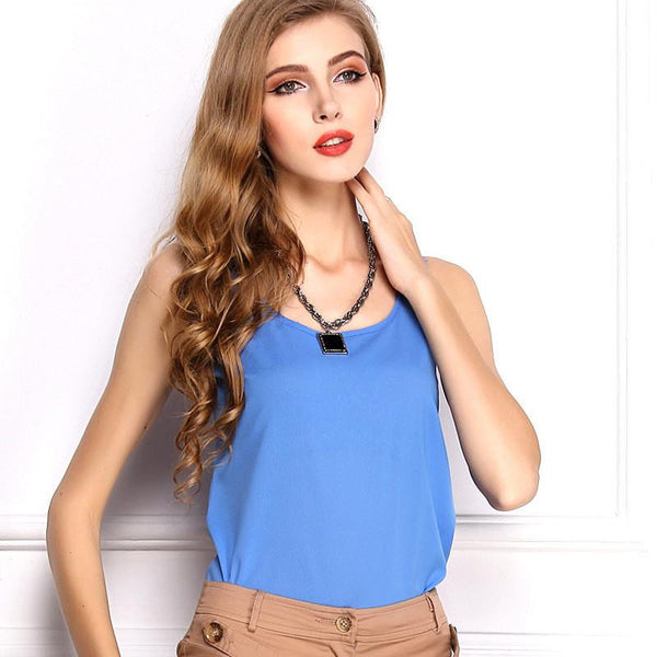Women Clothes Bright Candy Colors Women Blouses Sleeveless Tops Casual Chiffon Blouse Plus Size