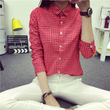 NEW small Plaid Women Blouse Casual Lapel Shirt OL Long Sleeve Cotton Shirts Women Classic Grid Shirts Tops Pluse size