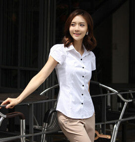 New Contracted Fashion Women's Shirts Elegant OL Dresses Business Formal Short Sleeve Chiffon Blouses Plus Size 5XL Casual