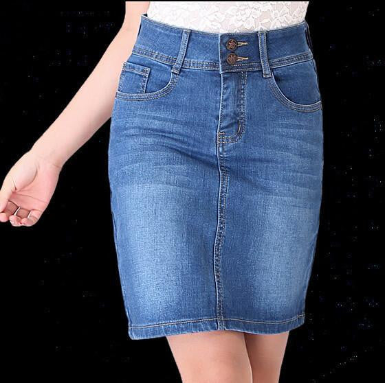 Women  Denim Jeans Skirt Ladies Long Jean Pencil Skirts Midi
