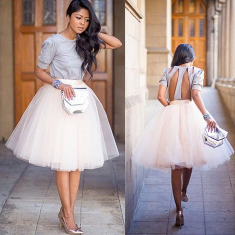 d5a10487b75 New Puff Women Chiffon Tulle Skirt White Faldas High Waist Midi Knee Length  Chiffon Plus Size