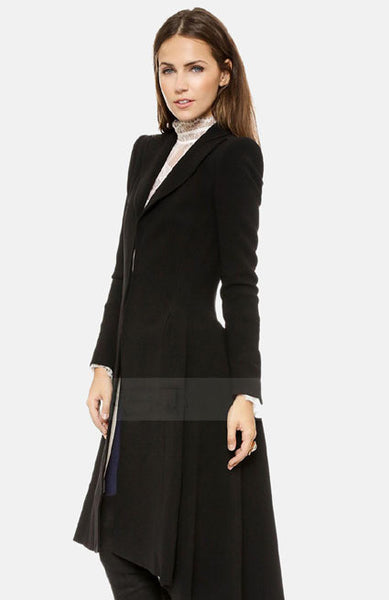 Women Coat style Long Sleeve Casual Trench Coat Long Maxi Dovetail Fashion Slim Black Trench Coats NC-745