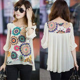 Women Blouses Fashion Casual Female Tops Loose Pleats Retro Printed Chiffon Blouse Plus Size XXL