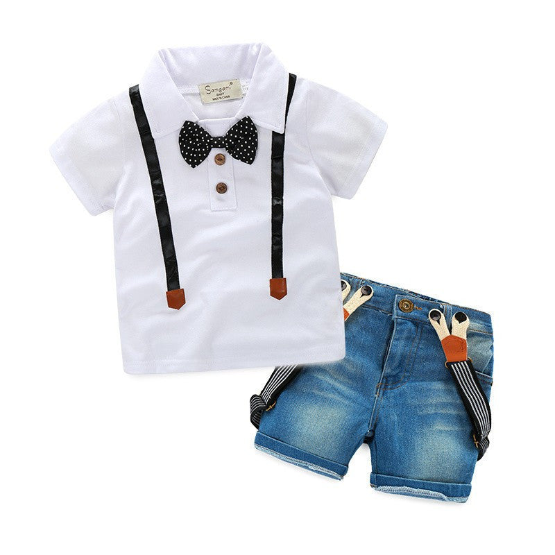 Gentleman Retail young children casual summer boys clothing sets shirt + jeans 2pcs boys suits child suitRandom deliverya
