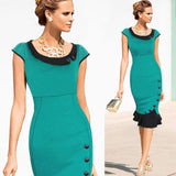 Womens Vintage Elegant Formal Lace Button Patchwork Tunic Wear To Work Party Wiggle Pencil Bodycon Dress