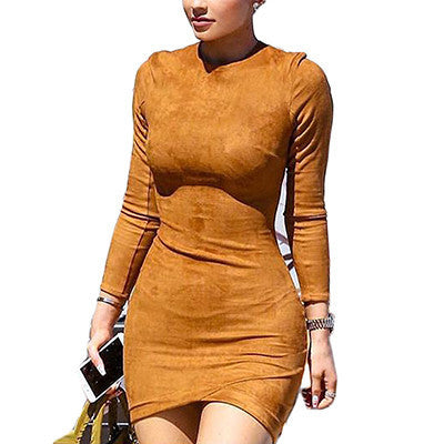 Online discount shop Australia - Long Sleeve Slim Party Dress Sexy Women Winter Dresses Kylie Jenner Skin Tight Faux Suede Bodycon Dress D63308R