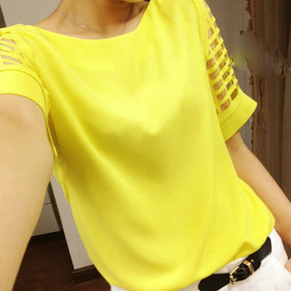 Plus Size Women Chiffon Blouses Shirts O Neck Hollow Out Short Sleeve Solid Casual ladies Tops
