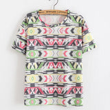 Women T Shirt Loose Women Retro Printed Short-sleeved T-shirt National style tops Tees