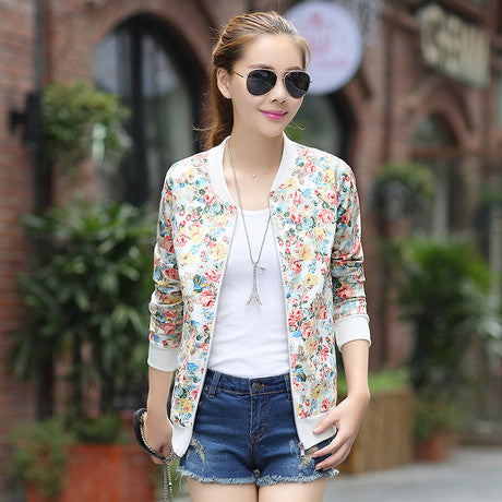 Floral Jacket No Lining Baseball Uniform Women Ditsy Print Cardigan Outwear
