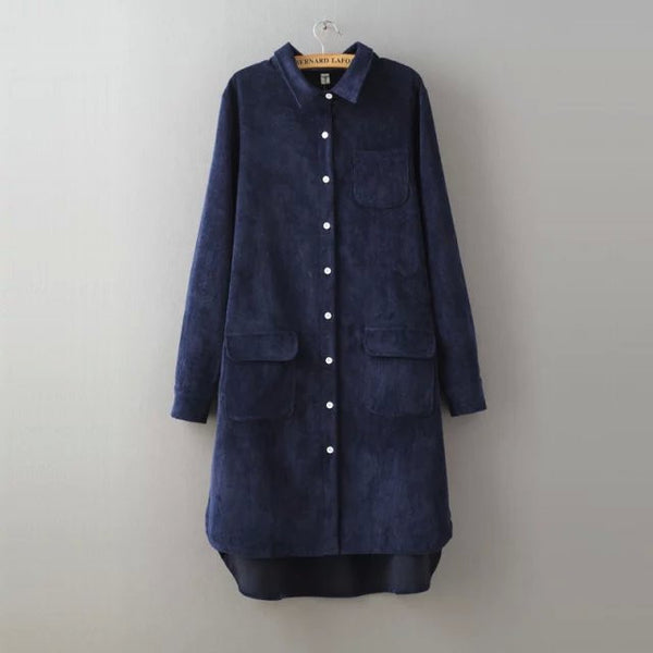 New Women Long Blouse Solid Loose Corduroy Long Sleeve All Match Shirt Dress