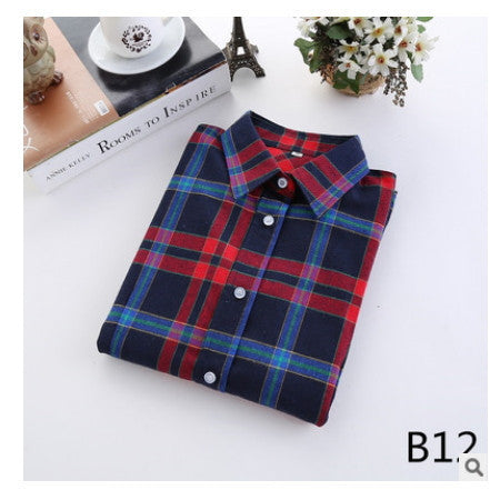 Online discount shop Australia - female new fashion long sleeve college style casual plaid shirts / women's pure cotton large yard slim sanded shirt