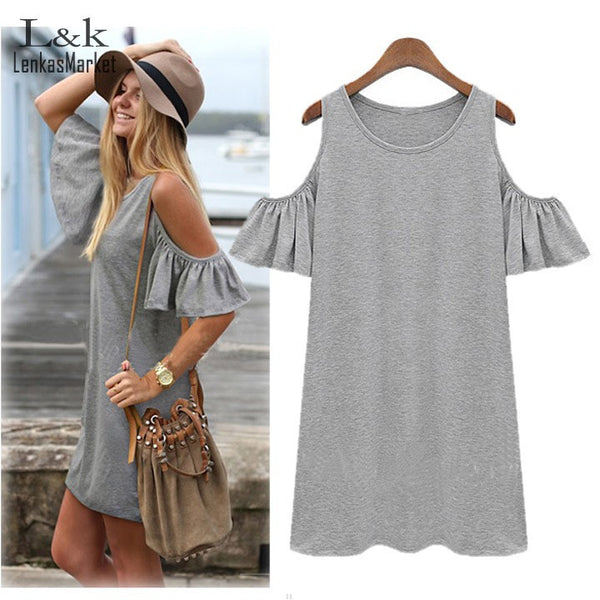 Plus Size Women Summer Dress Off shoulder Women Dresses Loose Straight Short Sleeve Mini Vestidos Black Gray M-5XL