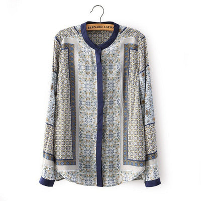 New Women Shirts Long Sleeve Blouse Casual Totem Print Shirt Ladies Puls Size Tops