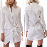 Front Bow Buttons long Sleeve Shirtdress Autumn Summer Casual Straight Office Shirt Dress Comfortable Cotton Blend Dress