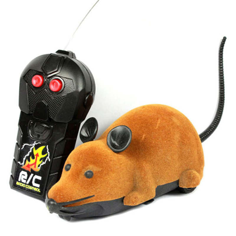 New Scary Cute RC Remote Controller Simulation Plush Mouse Mice Kid Toy GiftsBrowna