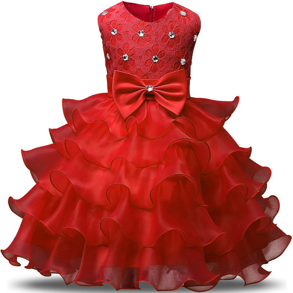 Online discount shop Australia - Girl Dress Princess Christmas Lace Kids Christening Events Party Wear Dresses For Girls Children Baby Red Clothes