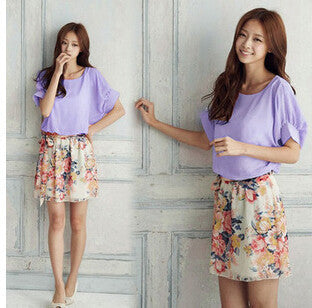 Online discount shop Australia - HOT New Fashion Summer printing Batwing Sleeve Chiffon Woman's Dress