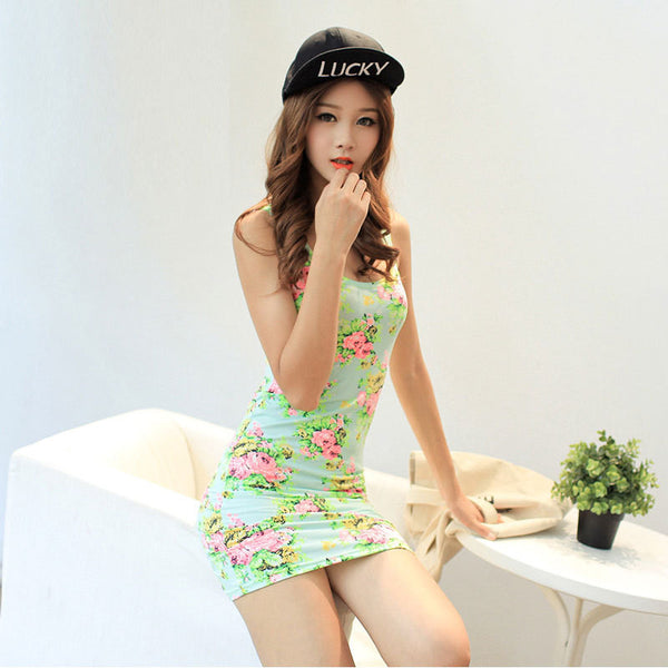 Online discount shop Australia - designer sexy Sleeveless O-neck Floral Above-knee Length Short Bodycon Womens Print Tank Dress Sale