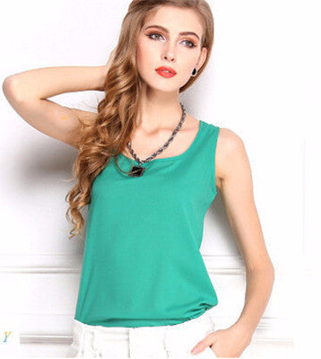 Online discount shop Australia - New 7 Size Women Clothing Fashion Chiffon Tank Tops Vest Shirts Solid Candy Color Chiffon Loose Top Shirt