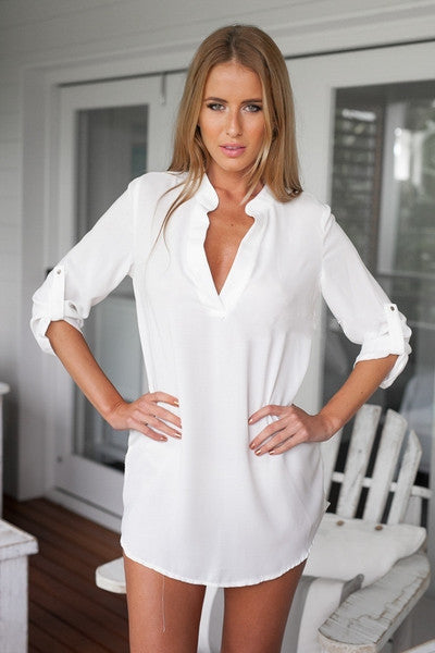 Online discount shop Australia - New Arrived Fashion Ladies Blouses V-Neck Chiffon Long Style Ladies Blouses Sexy Clothing Plus Size S-3XL