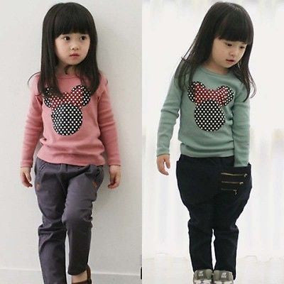 Fashion Baby Kid Long Sleeve Cat Shirt Tops Clothes Girls Blouse T-Shirt Sz2-7YPinka