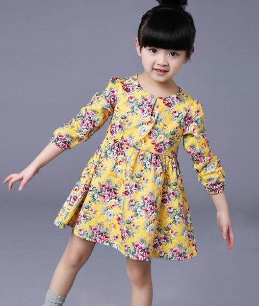 Online discount shop Australia - 2-8 Ages Girls Dress Casual Long Sleeves Flower Princess Girl Dresses Toddler Girl Clothing