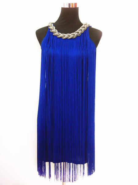 Online discount shop Australia - GREAT GATSBY OMBRE METAL HALTER-NECK BLACK FRINGE BEADED 1920S FLAPPER CHARLESTON DRESS