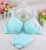 Online discount shop Australia - 100% Cotton new push up women bra set cute 32 34 36 A B C cup young girl sexy lace cotton underwear suit