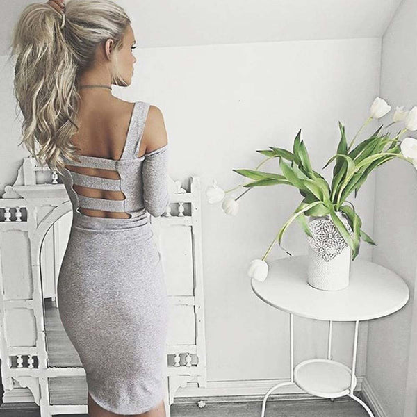 Online discount shop Australia - Black White Sexy Solid Long Sleeve Bandage Party Dress Hollow Out Off The Shoulder Backless Midi Bodycon Women Dresses