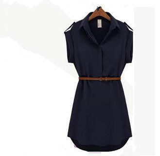 Women Dress V-Neck Short A-Line Solid Plus Size Chiffon Casual Dress For Beach Office With Belt