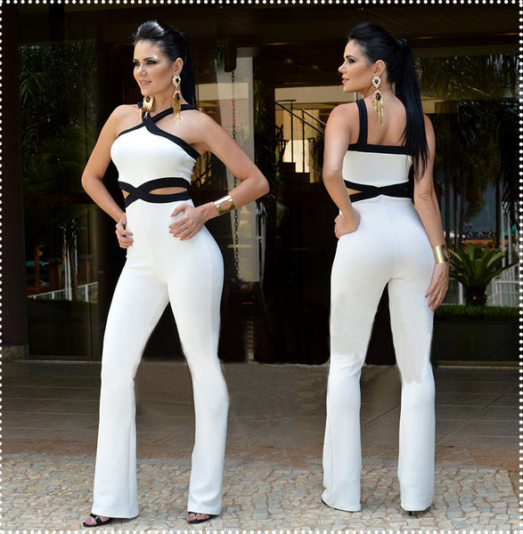 Online discount shop Australia - jumpsuits for women Playsuit overall Black white stitching women's sexy slim Halter Full Length pants coveralls Rompers