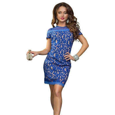 Women Vintage Short Sleeve Sheath Lace Bodycon Dress Zipper Solid Blue Sexy Club Mini Dresses Party Vestido