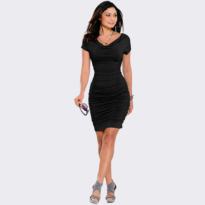 Online discount shop Australia - 2016 Plus Size Apparel Draped V-Neck Women Dress Summer Style Sheath Sexy Dresses Vestidos Black Tube Beach Dress Cotton