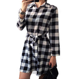 Women Plaid Dresses Long Sleeve Dress Plus Size With Belt Work Office Business Casual Vintage Woman Dress Vestidos Multi Colors