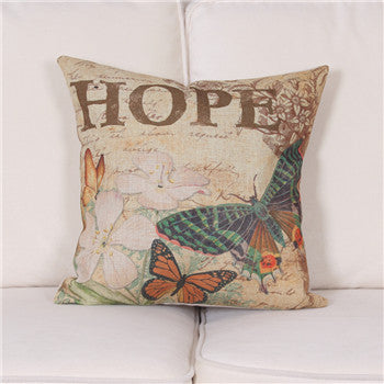 Online discount shop Australia - American country Linen Butterfly Cushion Cover Sofa Decorative Linen Vintage Throw Pillows Case Waist Pillow