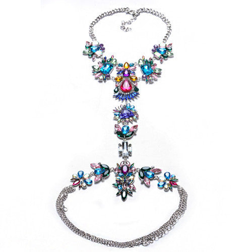 New ZA Long Body Chain DIY Handmade Luxury Blue Red Gem Fashion Crystal Necklace Pendant Set Statement Vacation