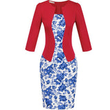 Women One-Piece Faux Jacket Bodycon Women Fashion Sheath Dress Office Lady Patchwork Tunic Knee Length Work Pencil Dresses