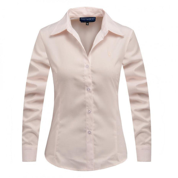 New Women Long Sleeve Pure Color Striped Blouses Turn Down Collar Casual High Street Woman Fashion Shirts Feminino