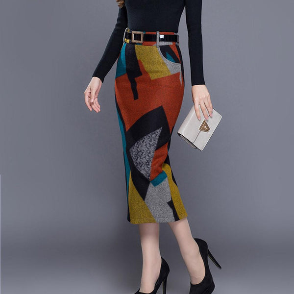 women's large size woolen skirt female high waist Slim was thin long skirt ladies office wild casual skirts