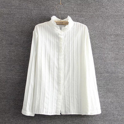 Online discount shop Australia - 4XL Plus size Vertical pleats Ruffled collar women shirt solid white full sleeve ladies elegant blouse tops