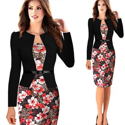 Womens Elegant Faux Twinset Belted Cotton Blend Floral Print Patchwork Wear to Work Business Pencil Sheath Bodycon Dress