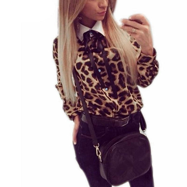 4a3c64aa0039ea Sexy Women Vintage Leopard Printed Blouse Casual Chiffon Long Sleeve Bow OL  Shirts Tops Plus Size
