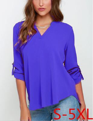 V-neck Slim chiffon Women's Blouses shirts plus size clothing body