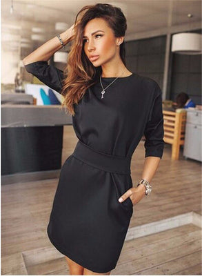 Women Summer Autumn Fashion Casual Mini Dress Fall Three Quarter Sleeve Black Red Blue Two Side Pocket Dresses Plus Size