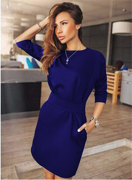 Ukraine Summer Autumn Women Fashion Casual Mini Dress Fall Three Quarter Sleeve Red&Black&Blue Dresses Plus Size Clothing