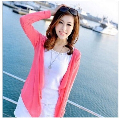Online discount shop Australia - Cardigan Women Candy Color Knitted Blouse Female Long Sleeve Sun Protection Clothing Fashion Tops